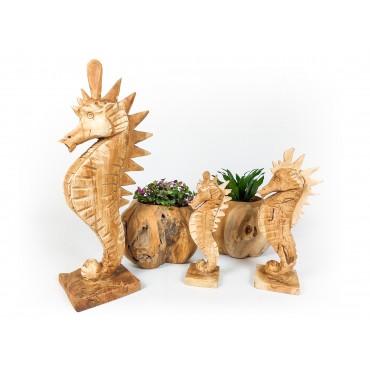 Sculpture seahorse, teak...
