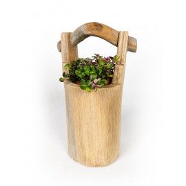 A hand-carved flower pot - pail - made of teak wood