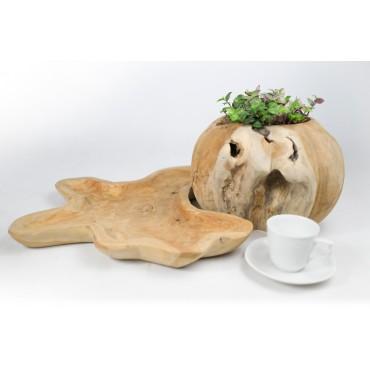 Large hand carved teak wood bowl