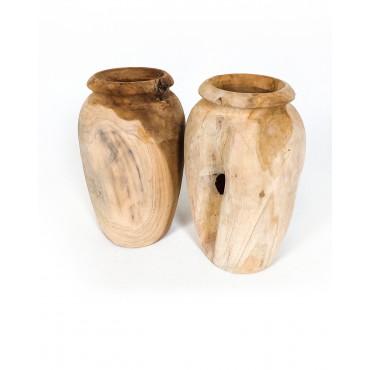Vase, garden pot Amfora S made of teak wood