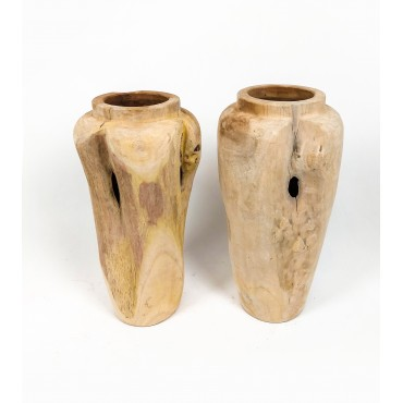 Vase, garden pot Stamnos L made of teak wood