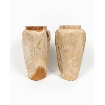 Vase, garden pot Stamnos M made of teak wood