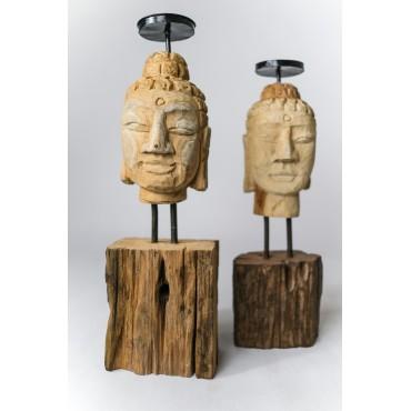 Candlestick - hand carved in teak wood, Buddha head M.