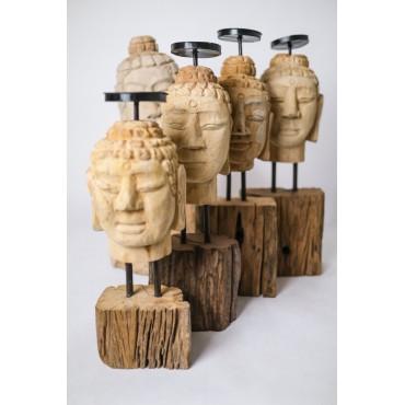 Candlestick - hand carved in teak wood, Buddha head S.