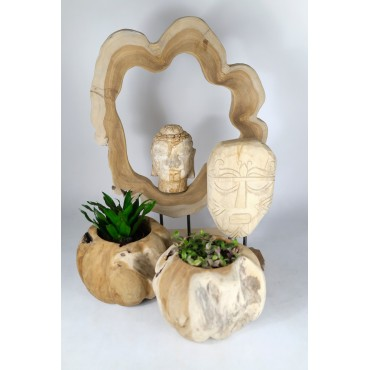 Buddha head carved in teak...