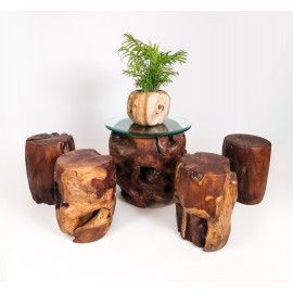 Furniture set made from massive teak trunk