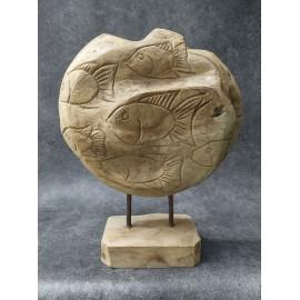 Balinese Fish Sculpture, teak wood