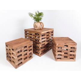 Furniture set, cubes, teak