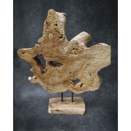 Massive alinese Fish Sculpture, teak wood