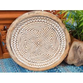 Tribal, carved decorative plate, teak wood  teak wood 40 cm