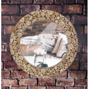 A mirror in a teak wood frame