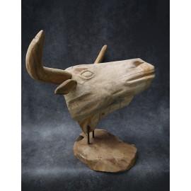 Sculpture, buffalo head made of Teak wood