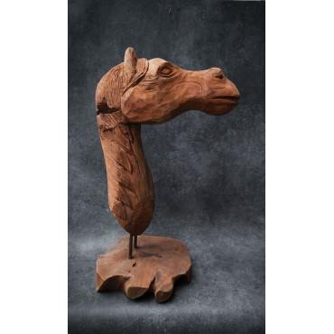 Sculpture, horse head made...
