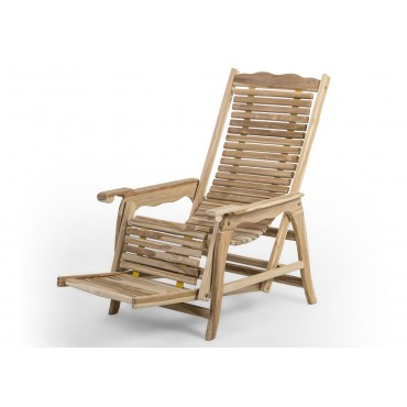 Teak folded garden armchair - Relax - with sun lounger function