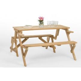 Rozkładana ławka piwna z egzotycznego drewna teak
