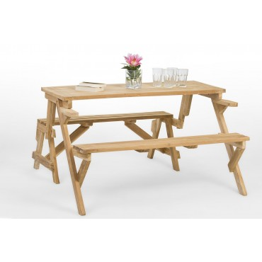 A folding teak garden bench