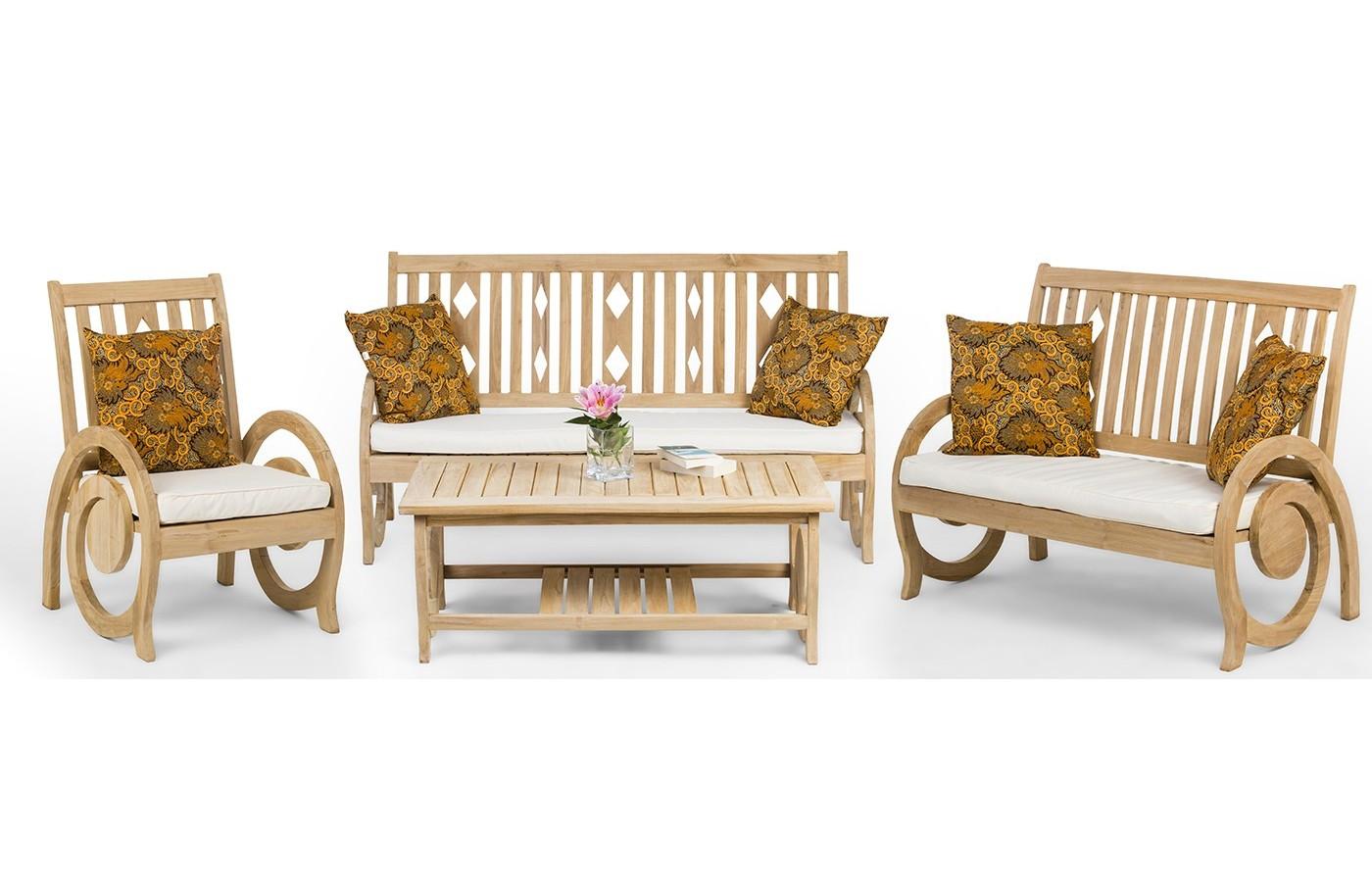 Dedun A Teak Wood Set Of Garden Furniture