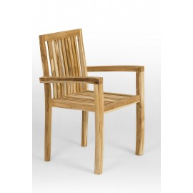 Teak garden chair with armrests