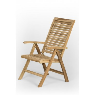 Folding teak garden chair with armrests