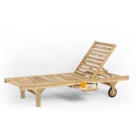 Deck sun lounger with regulation, teak