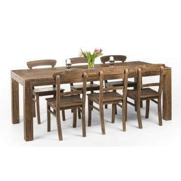 Exclusive set of teak wood table + 6 chairs