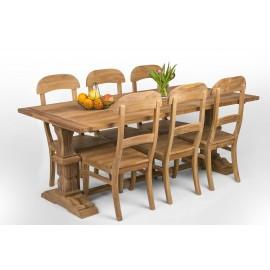 Zestaw stół bizantyński z drewna teak + 6 krzeseł