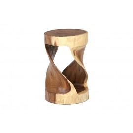 A round stool made of Suar wood